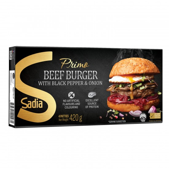 Primo Beef Burger with Black Pepper & Onion